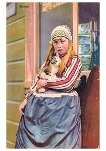 A.N.B. -Meisje met een kat in haar arm (Marken)- Postcard