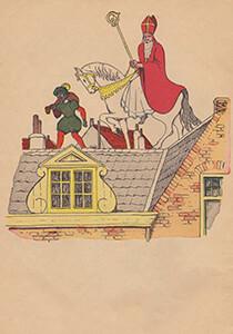A.N.B. -Sinterklaas en zwarte piet lopen over het dak- Postcard