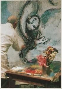Marc Chagall (1887-1985) -Marc Chagall (1887-1985) werkt aan 'Die Zauberflot- Postcard