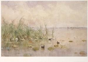 Willem Roelofs (1822-1897) -Eendjes op de plas- Postcard