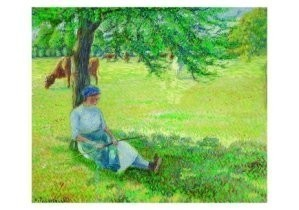 Camille Pissarro (1830-1903) -Young Woman Tending- Postcard