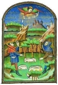 Jean Fouquet (ca.1420-1477/81)-Verkondiging aan Herders- Postcard