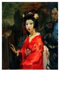 Isaac Israels (1865-1934) -Japanse dame in rode- Postcard