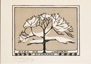 Julie de Graag (1877-1924) -Lijsterbes / Januari, 1918- Postcard