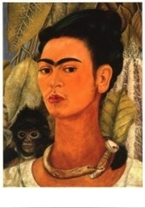 Frida Kahlo (1907-1954) -Selfportrait with mon- Postcard