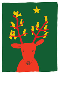 Muriel de Crayencour -Christmas bird- Postcard