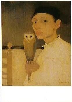 Jan Mankes (1889-1920) -J. Mankes/Zelfportret met uil- Poster