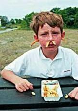 Ronald Hammega (1948) -De patat komt m'n neus en oren uit / fries / frites / friet- Notecard