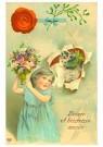 A.N.B.  -  Katje en een meisje (gelukkig nieuwjaar) - Postcard -  1C2202-1