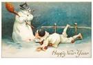 A.N.B.  -  Sneeuwpop die een pijp rookt - Postcard -  A101342-1