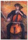 Jo Koster (1868-1944)  -  Cello spelende vrouw - Postcard -  A10432-1