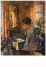 Gotthardt Kuehl (1850-1915)  -  Fruhling im zimmer - Postcard -  A10448-1