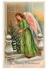 A.N.B.  -  Kerstengel staat met kerstboom voor de deur - Postcard -  A105275-1