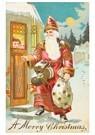 A.N.B.  -  Kerstman staat voor de deur met cadeaus - Postcard -  A107259-1