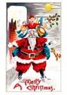 A.N.B.  -  Kerstman met cadeaus staat op een dak met sneeuw - Postcard -  A108940-1