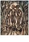 Dolf Breetvelt (1892-1975)  -  Drie figuren op sokkels, ca 1935 - Postcard -  A11576-1