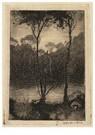 Jan Mankes (1889-1920)  -  Beekje bij avond (twee boompjes aan het water), 1916 - Postcard -  A115942-1