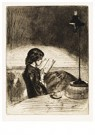 James McNeill Whistler(1834-03 -  Reading By Lamp Light - Postcard -  A16331-1