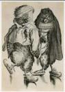 Abraham Bloemaert (1564-1651)  -  Twee uilen op schaats - Postcard -  A2014-1
