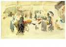 James McNeill Whistler(1834-03 -  Flower Market, 1885 - Postcard -  A22999-1