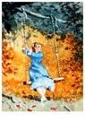 Winslow Homer (1836-1910)  -  Girl on a Swing, - Postcard -  A53637-1