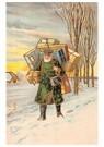 A.N.B.  -  Kerstman met cadeaus in een sneeuwlanschap - Postcard -  A77109-1