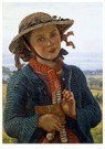 William Holman Hunt (1827-1910 -  The School-Girl's Hymn, 1859 - Postcard -  A77655-1