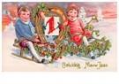 A.N.B.  -  Jongen en meisje op een slee (Gelukkig Nieuwjaar) - Postcard -  A78170-1