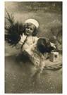 A.N.B.  -  Meisje met een kerstboom in haar hand, hond met cadeau - Postcard -  A79417-1