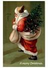 A.N.B.  -  Kerstman met cadeaus staat voor de deur - Postcard -  A79594-1