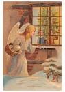A.N.B.  -  Kerstengel kijkt door het raam en ziet kinderen muziek maken - Postcard -  A80114-1