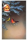 A.N.B.  -  Twee vogels op een tak met daarboven een vogelhuisje - Postcard -  A81183-1