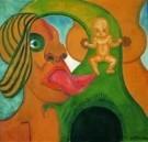 Henry Heerup (1907-1993)  -  Rode mond uitg.tong - Postcard -  A8169-1