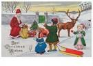 A.N.B.  -  Kinderen met kerstman in de sneeuw - Postcard -  A83099-1