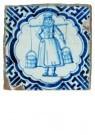 Delft  -  Blauwwitte tegel met melkmeisj - Postcard -  A8660-1