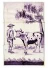 Delft  -  Zes tegels met boer en koe - Postcard -  A8662-1