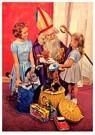 A.N.B.  -  Twee meisjes bij Sinterklaas met cadeaus - Postcard -  A91029-1