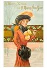 A.N.B.  -  Dame loopt in een sneeuwlandschap - Postcard -  A91156-1