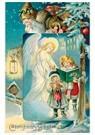 A.N.B.  -  Kerstman, engel en twee kinderen in de sneeuw - Postcard -  A97429-1