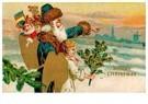 A.N.B.  -  Kerstman loopt met kerstengel door de sneeuw - Postcard -  A98057-1