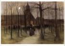 Arina Hugenholtz (1848-1934)  -  Kerkuitgang Laren - Postcard -  A9812-1