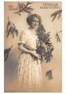 A.N.B.  -  Jonge dame met kersttakken (Vroolijk Kerstfeest) - Postcard -  A99642-1