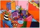 Jacqueline Schafer  -  Tafel voor twee met spiegel - Postcard -  C11274-1