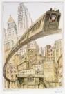 Edward Sorel (1929)  -  The 3rd Avenue Elevated - Postcard -  C7006-1