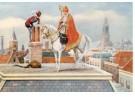 -  Sint en Piet op het dak, ca. 1930 - Postcard -  D1110-1