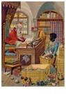 -  Sinterklaas thuis aan het werk, 19e eeuw - Postcard -  D1137-1