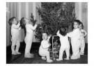 Spaarnestad Fotoarchief,  -  Kinderen in nachtkleding bij kerstboom - Postcard -  D1183-1