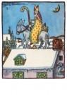 000004 -  Sint op ezel op het dak - Postcard -  D1223-1