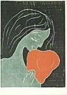 Edvard Munch (1863-1944)  -  E. Munch/Vrouw + hond/HGM/BR - Postcard -  QA228-1