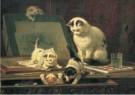 H. Ronner-Knip (1821-1909)  -  De teekenaars (detail) - Wenskaarten-set -  QA387-1